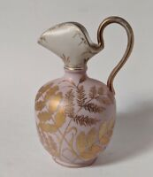 Antique Art Pottery Pitcher American Late 19th Century with Gilded Leaf Fronds