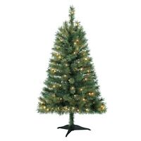 HOLIDAY TIME 4-FT PRE-LIT GREEN INDIANA SPRUCE TREE w/STAND & 150 CLEAR LIGHTS