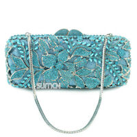 Vintage Crystal Clutch Long Evening Bag Women Rhinestone Chain Handbag Purse New