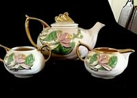 4pc Set 1950s Hull New Magnolia Tea Pot & Sugar Bowl , and Creamer. Art Pottery