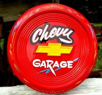 Vintage Custom Painted Hubcap CHEVY SERVICE Garage Sign Shop Hot Rod Pinstriped