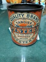 Early Rare Quality Brand Tangier Oysters Tin Can, Pint Size, MD #208