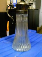 Clarinet Glass Pitcher silver plated top and handle Rogers