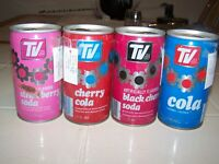 Vintage TV Soda Pull Tab Top Soda Pop Can Lot of 4
