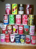 Vintage Soda Pop Cans Open Steel Pull Tabs Lot of 22 Variety Some Damaged