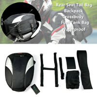 Motorcycle ATV Rear Seat Tail Bag Fuel Tank Helmet Backpack Crossbody Waterproof