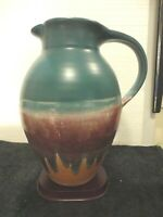 Large Walt Glass Signed Studio Pottery Teal Pitcher McQueeny Texas