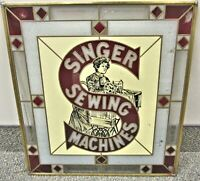 Singer Sewing Machine Vintage Stained Glass Advertising Sign