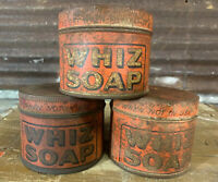 Lot 3 Vtg 20s-30s-40s WHIZ SOAP Metal 1lb Tin Can Lot General Store Gas Oil