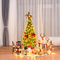 4ft Pre-Lit Christmas Tree Fully Decorated Pull up Tree Flat-to-Fabulous Lights