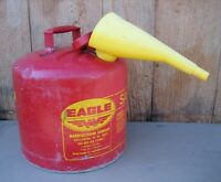 EAGLE 5 Gallon Metal Gas Can Fuel Can Safety Can with Funnel