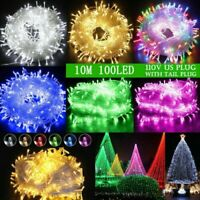 LED Solar Powered Fairy String Lights Curtain Outdoor Garden Xmas Tree Decor US