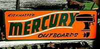 Large Vintage Hand Lettered MERCURY OUTBOARD MOTOR Boat Gas Man Cave Fish SIGN