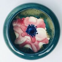 c1928 Vintage William Moorcroft Anemone Bowl Pin Dish Tray Blue Green Antique