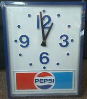 """NOS (NEW) Vintage Pepsi-Cola Sign Clock Advertising Battery Operated 14""""x18"""""""