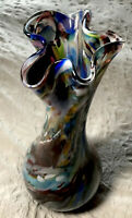 """Large Signed Glass Multi Colored Vase 17"""" Tall"""