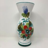 Vintage Italian Pottery Floral Vase Hand Painted White Green 10