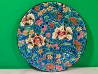 Beautiful French Longwy Enameled Majolica Floral Plate