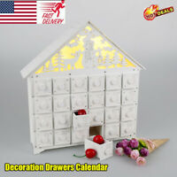 Christmas Advent Calendar White Wooden Light Up LED Decoration Carved Xmas NEW
