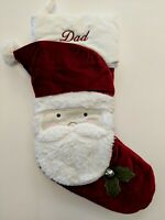 Pottery Barn Kids Luxe Red Velvet, Faux Fur Christmas Stocking, Santa's Face Dad