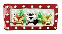 LS Arts Christmas Platter Holiday Foxes Glass Decorative Serving Piece