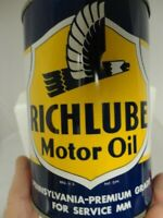 Original Vintage Richfield RICHLUBE Motor Oil Metal 1 Quart Can Super Clean