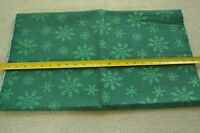 By the Half Yard 45quot; Wide Green Glitter Snowflakes on Green Cotton M5014