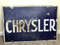 "Vintage Chrysler Porcelain Double-Sided Blue & White Sign 35.5"" X 23.5"" Original"