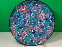 Antique French Longwy Enameled Majolica Wall Plate Bowl