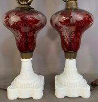 (2) Antique RUBY RED Cut to Clear GRAPEVINE Old OPALESCENT GLASS Parlor OIL LAMP
