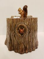 VINTAGE 1950 Vallona Starr Squirrel Cookie Jar Pottery Log Tree Stump California