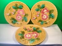 Set of 3 Antique French Majolica Floral Rose Plates