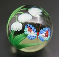 Vintage Orient and Flume Signed Limited Edition Art Glass Paperweight Flowers