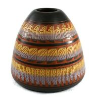Navajo TKL Southwest Pottery Signed Pot Vase Hand Painted Etched 6.25