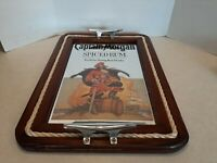 Captain Morgan Spiced Rum Mirror Wood Serving Tray Sign With Rope Trim X2