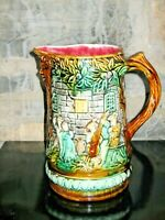 Beautiful  Antique Frie Onnaing Majolica Pitcher 714 France courtyard music
