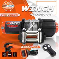 ZESUPER Electric Winch 4500LBS 12V Synthetic Rope 4WD ATV UTV Winch Towing Truck