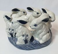 The Potting Shed Dedham Pottery Two Piece Bunny Rabbit Centerpiece