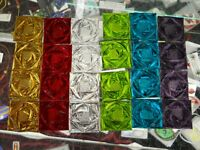 24 Assorted Stained Glass Square Rose Pattern Jewels