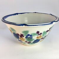 Large Pottery Bowl Wheelthrown and Signed with Flower Patterns