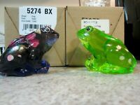 Lot of (2) Fenton Glass Handpainted Frogs, Violet + Key Lime Green, new in boxes
