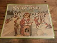 Vintage Dickinson#x27;s Snow Ball Shelled Rice Metal Old Tin Sign AAA Sign Co 1991