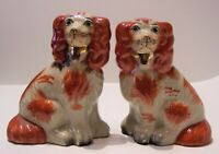 pair antique red white pottery staffordshire England spanial dogs 5 1/2'