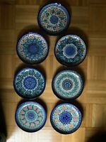 "Boleslawiec Polish Pottery Unikat 7-7/8"" Salad Plate Set of 7 Signed by Artists"