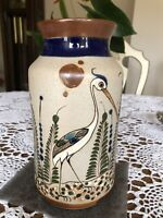Tonala Mexico Large Pottery Vase Signed Mateos Browns Blues w STORKF flowers 9quot;