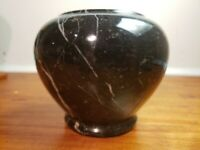 Marble Onyx Vase Black With White Gray Streaks 4.25