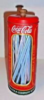 Coca Cola Straw Dispenser Holder Coke Metal Tin Straw Canister Reproduction