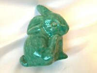 VTG Scandinavian Danish Studio Pottery Bunny Rabbit Figurine EMIL RUGE BlueGreen