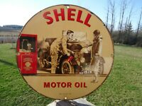 VINTAGE OLD 1939 SHELL MOTOR OIL PORCELAIN  GAS PUMP SIGN GREAT ANTIQUE COLORS