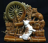 McCoy Planter Spinning Wheel w/ Scottie Dog & Cat USA Pottery Vintage 1950's
